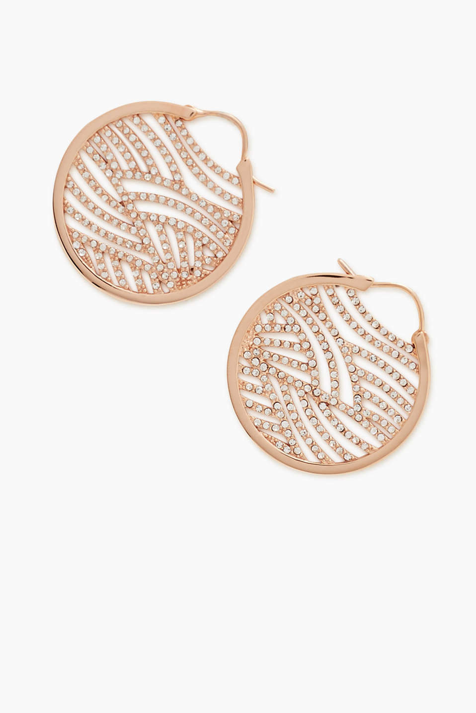 Rose gold hoop earrings with zirconia