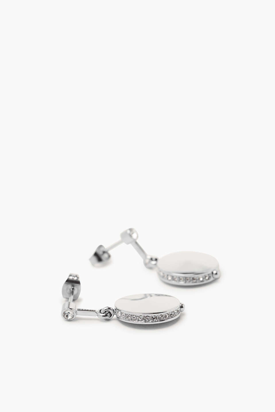 Stainless steel earrings with zirconia, one colour, detail image number 1