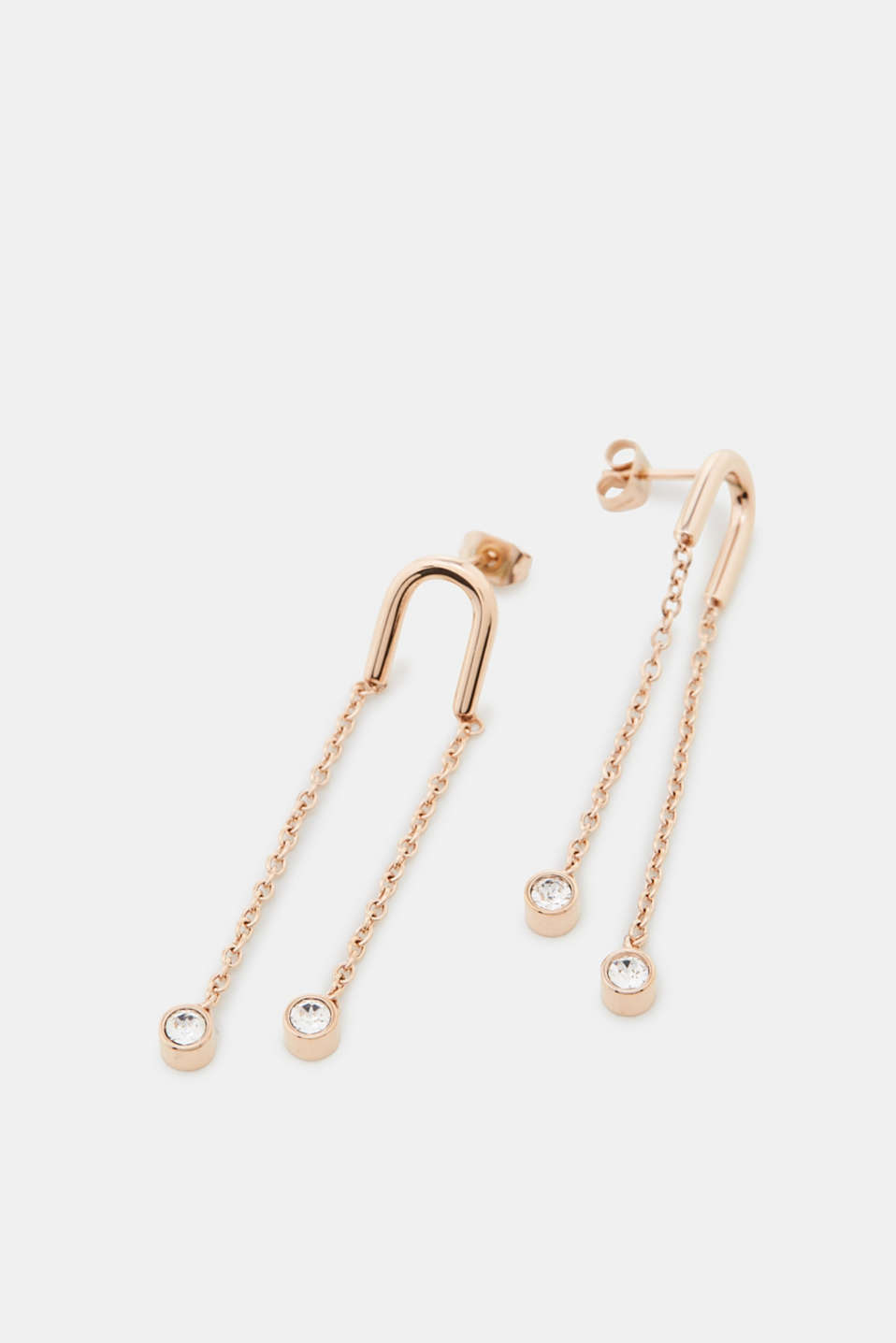 Esprit - Earrings in rose gold + zirconia