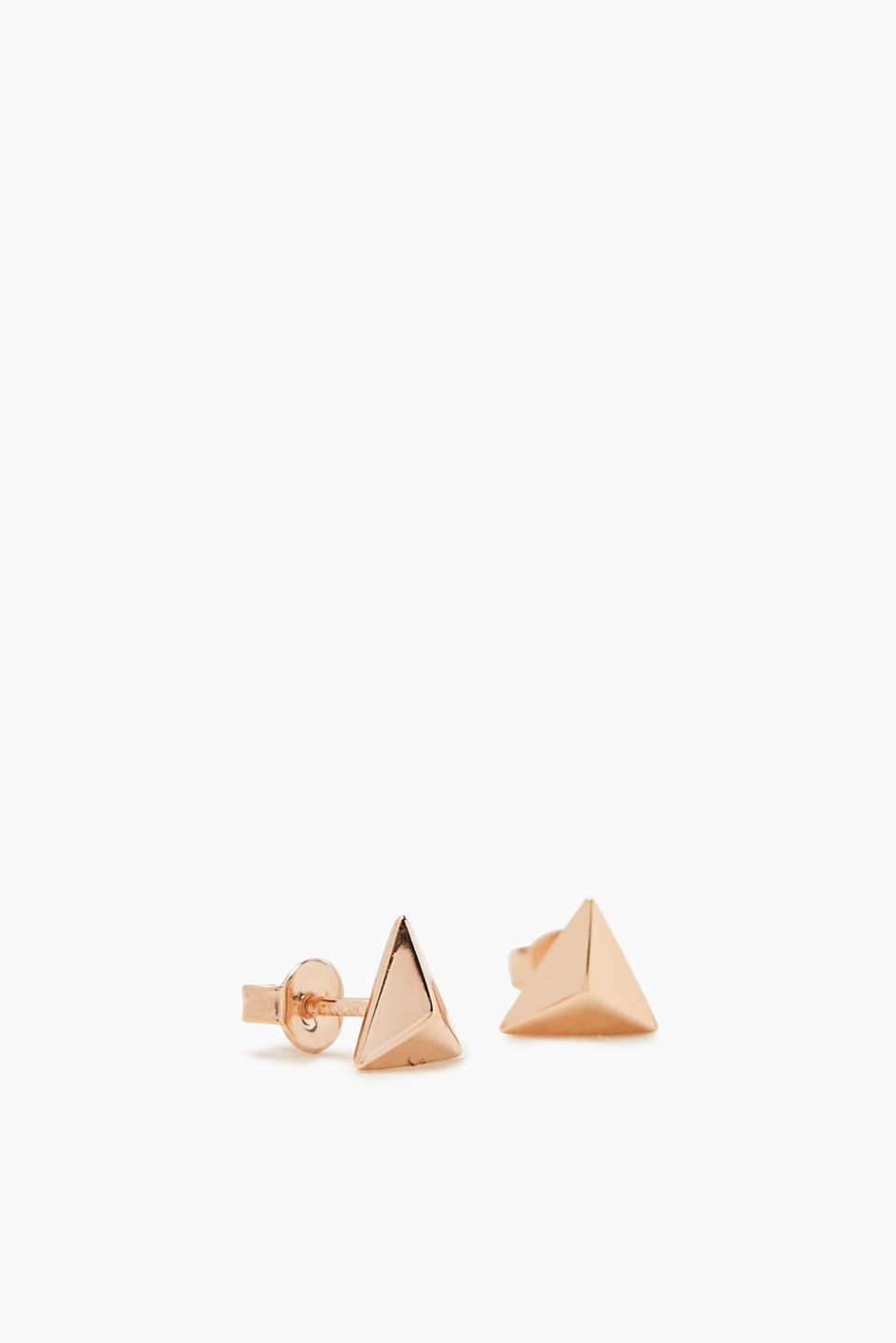 Triangular stud earrings in sterling silver