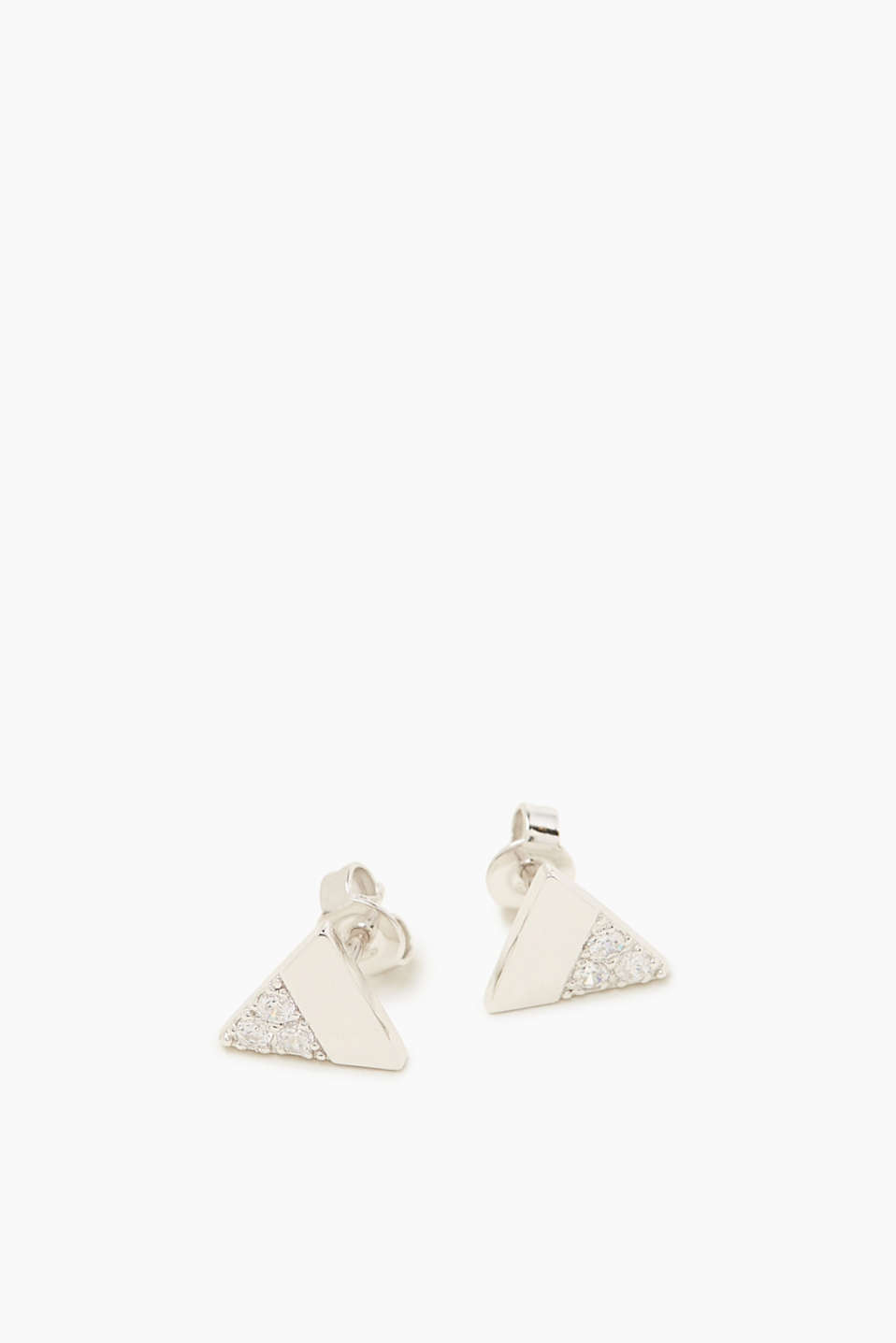 Stud earrings in sterling silver with zirconia
