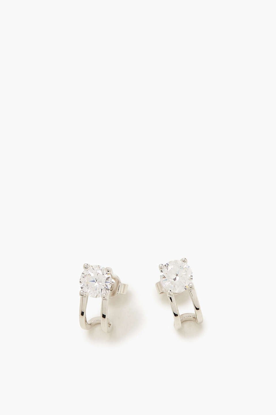 Earrings with zirconia, sterling silver