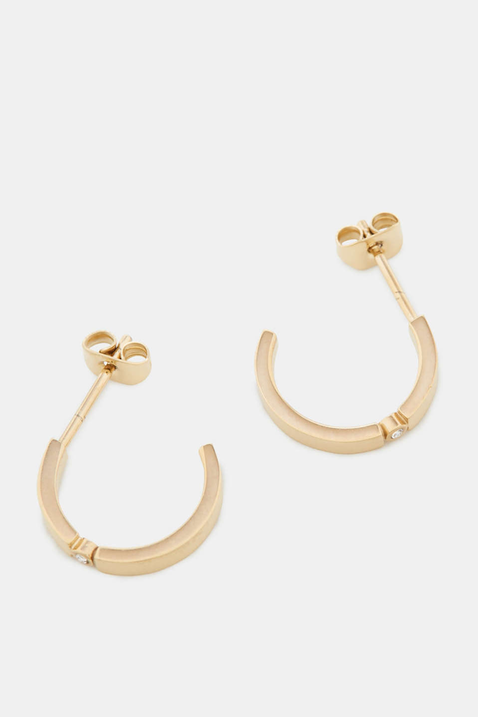 Stud earrings with zirconia, stainless steel, one colour, detail image number 1