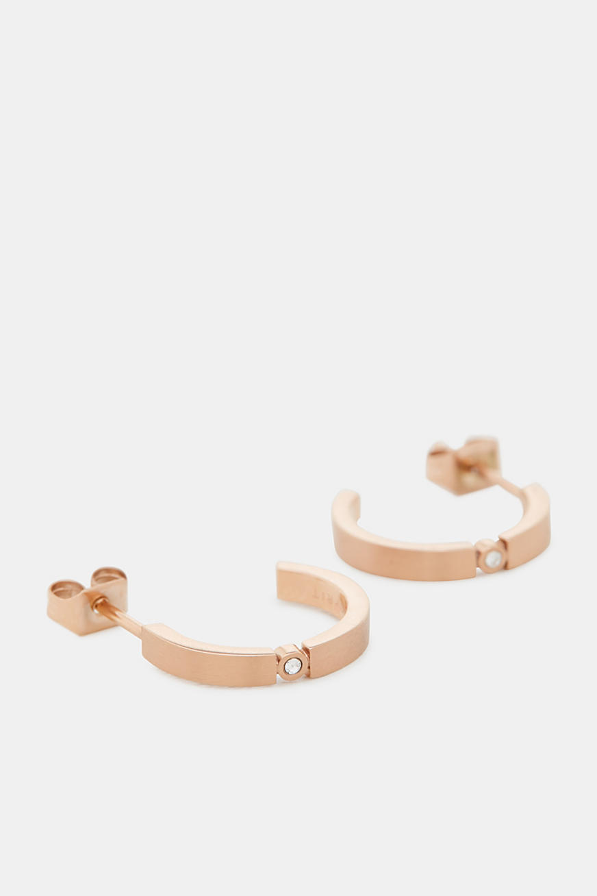 Rose gold stud earrings with zirconia, made of stainless steel