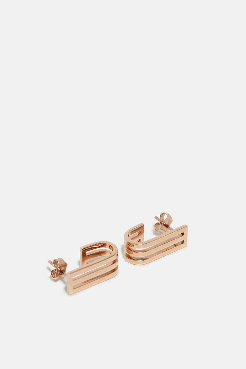 Rose gold coloured stud earrings