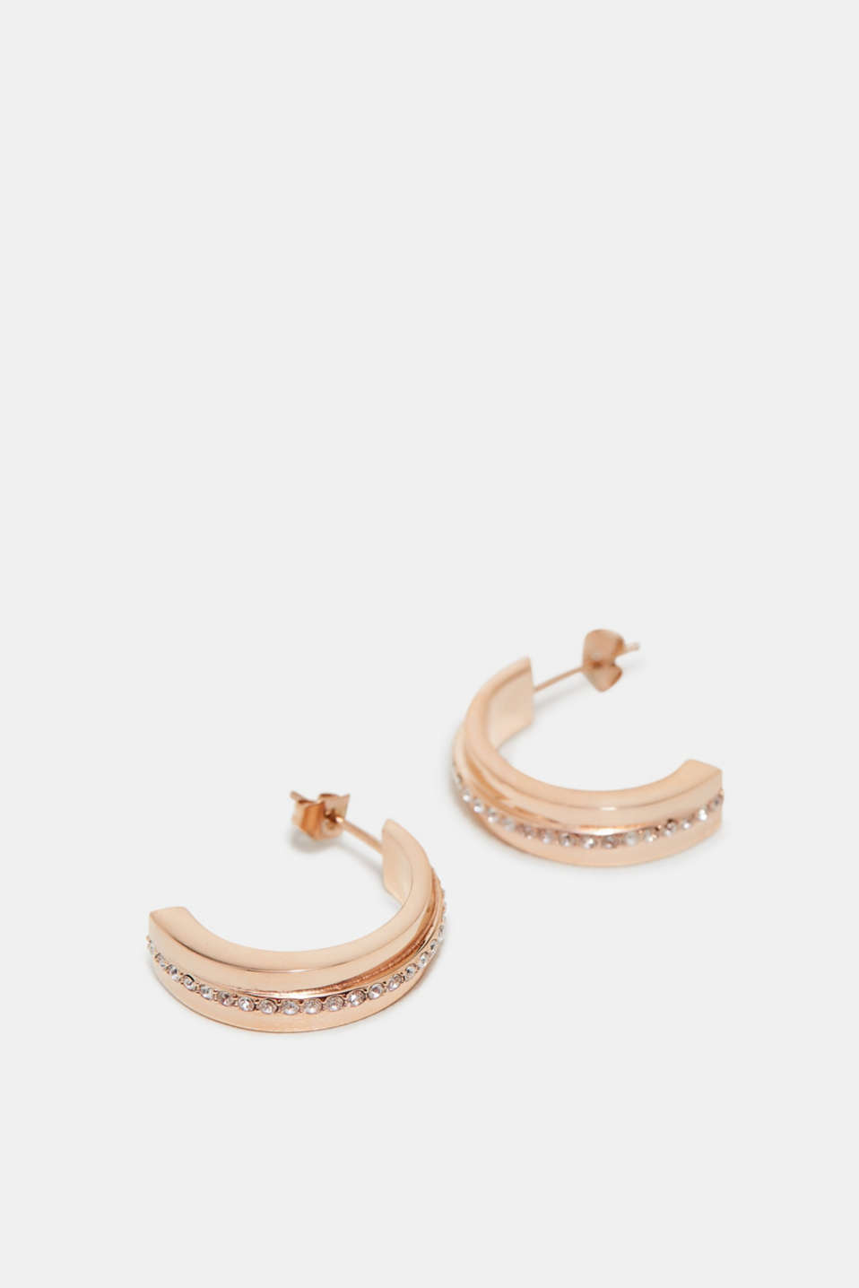 Esprit - Earrings in rose gold with zirconia