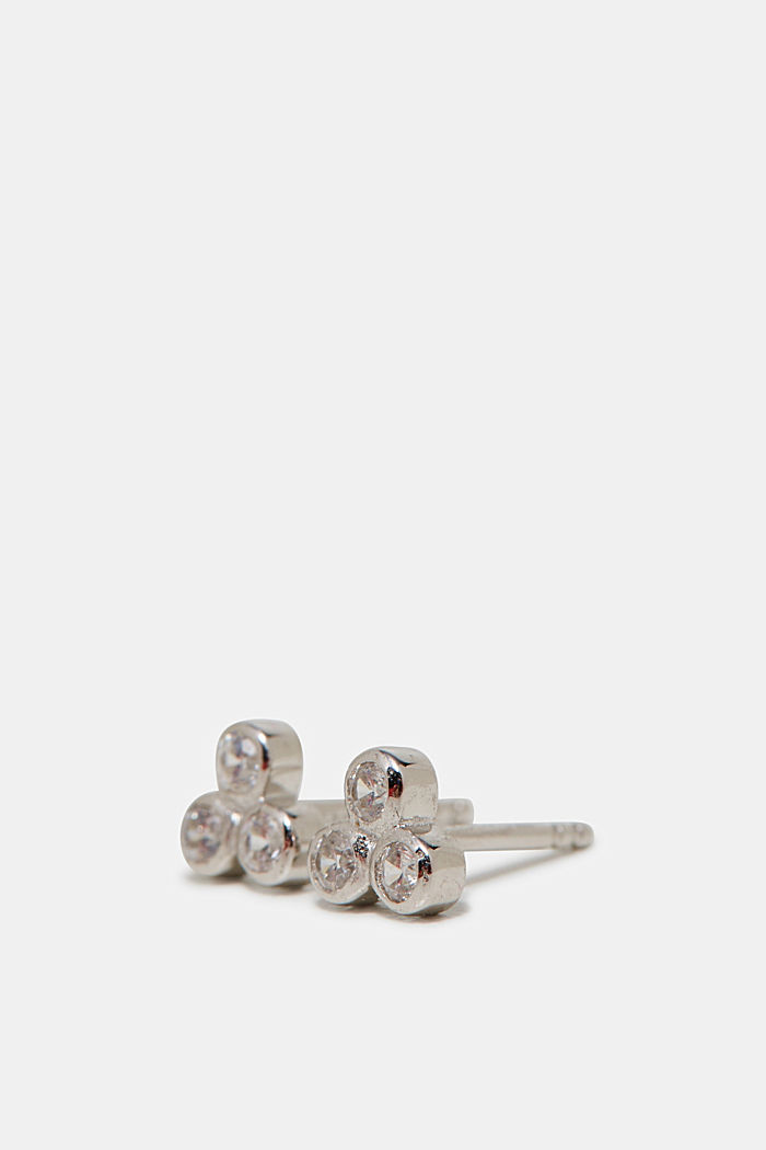 Stud earrings with zirconia, in silver