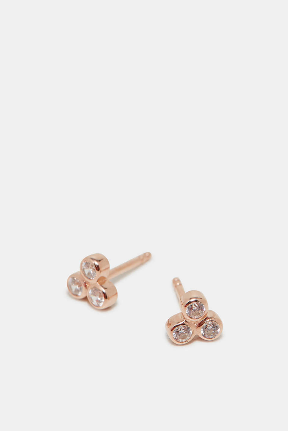 Stud earrings with zirconia, in silver