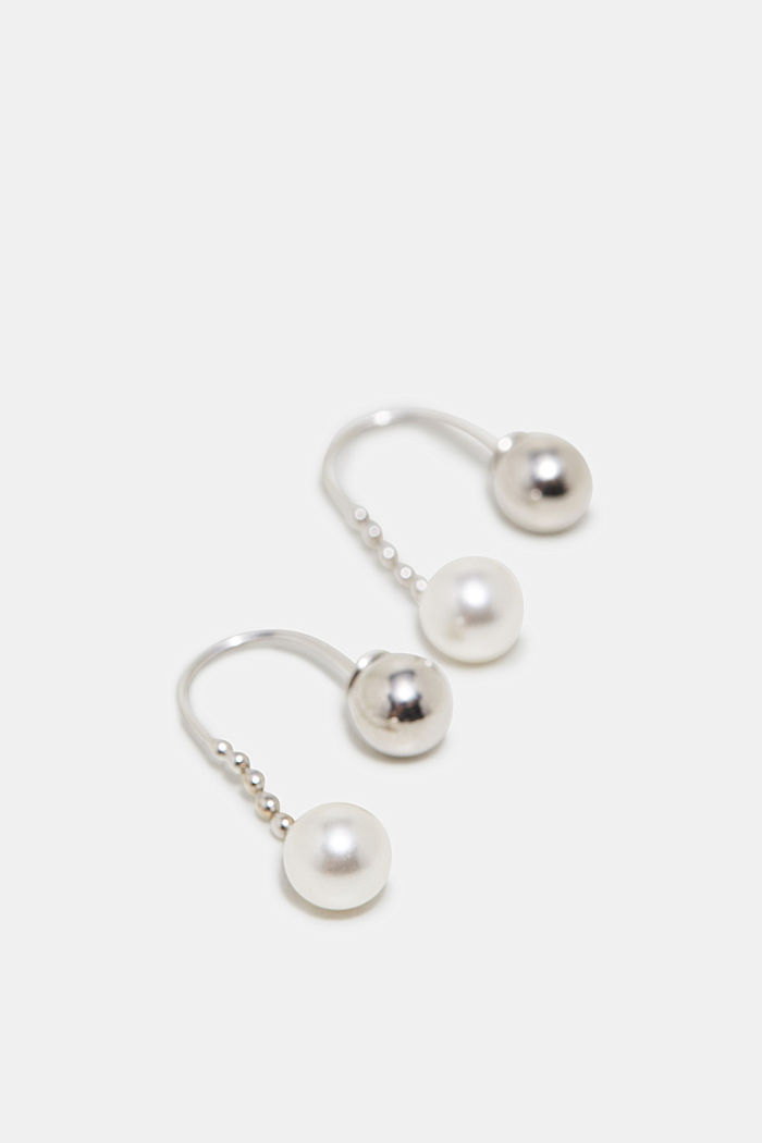 Earrings with beads, in sterling silver, SILVER, detail image number 1