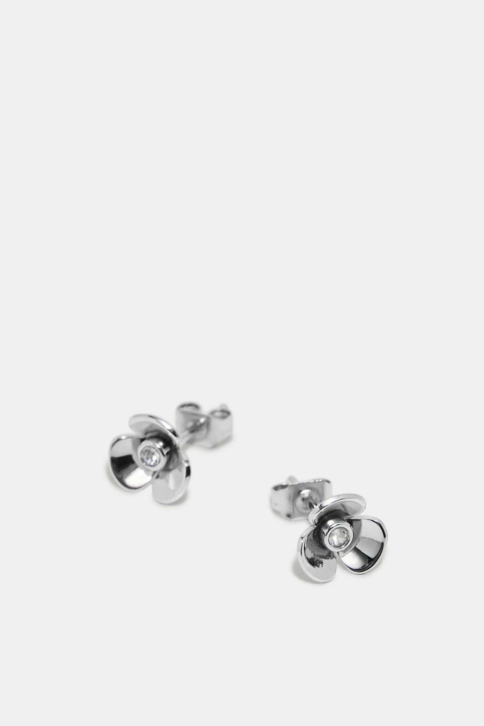Floral stud earrings with zirconia stones