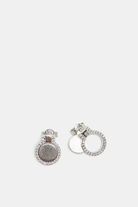 Stud earrings with zirconia, in sterling silver