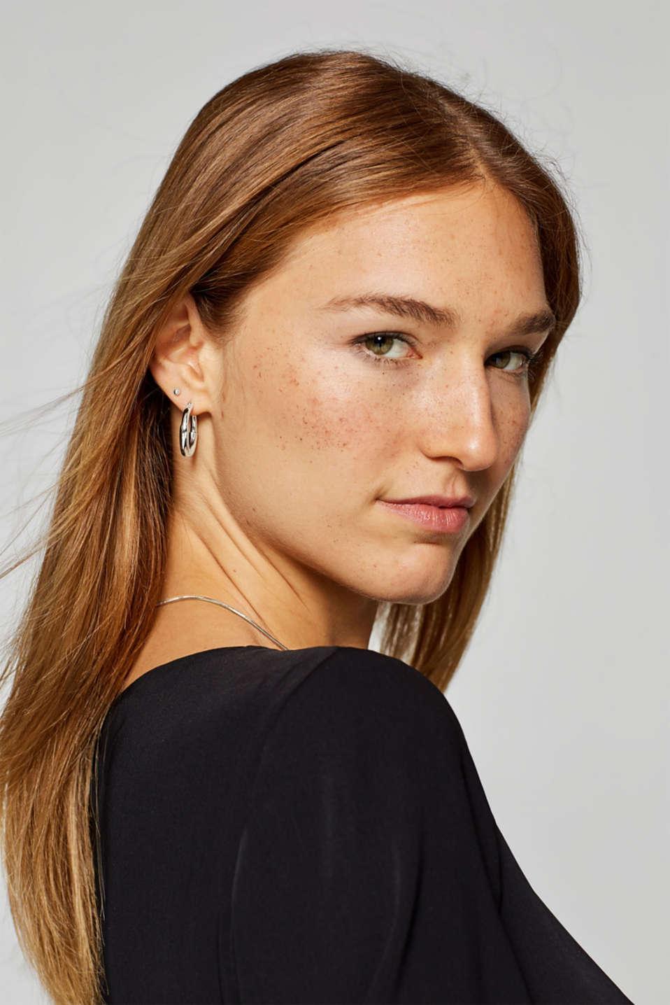 Stainless-steel hoop earrings, one colour, detail image number 2