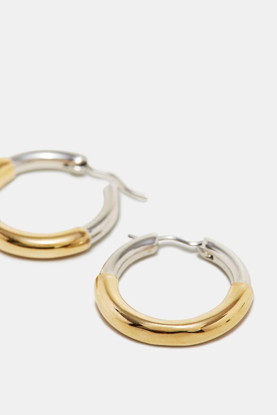 Stainless-steel hoop earrings, one colour, detail image number 1