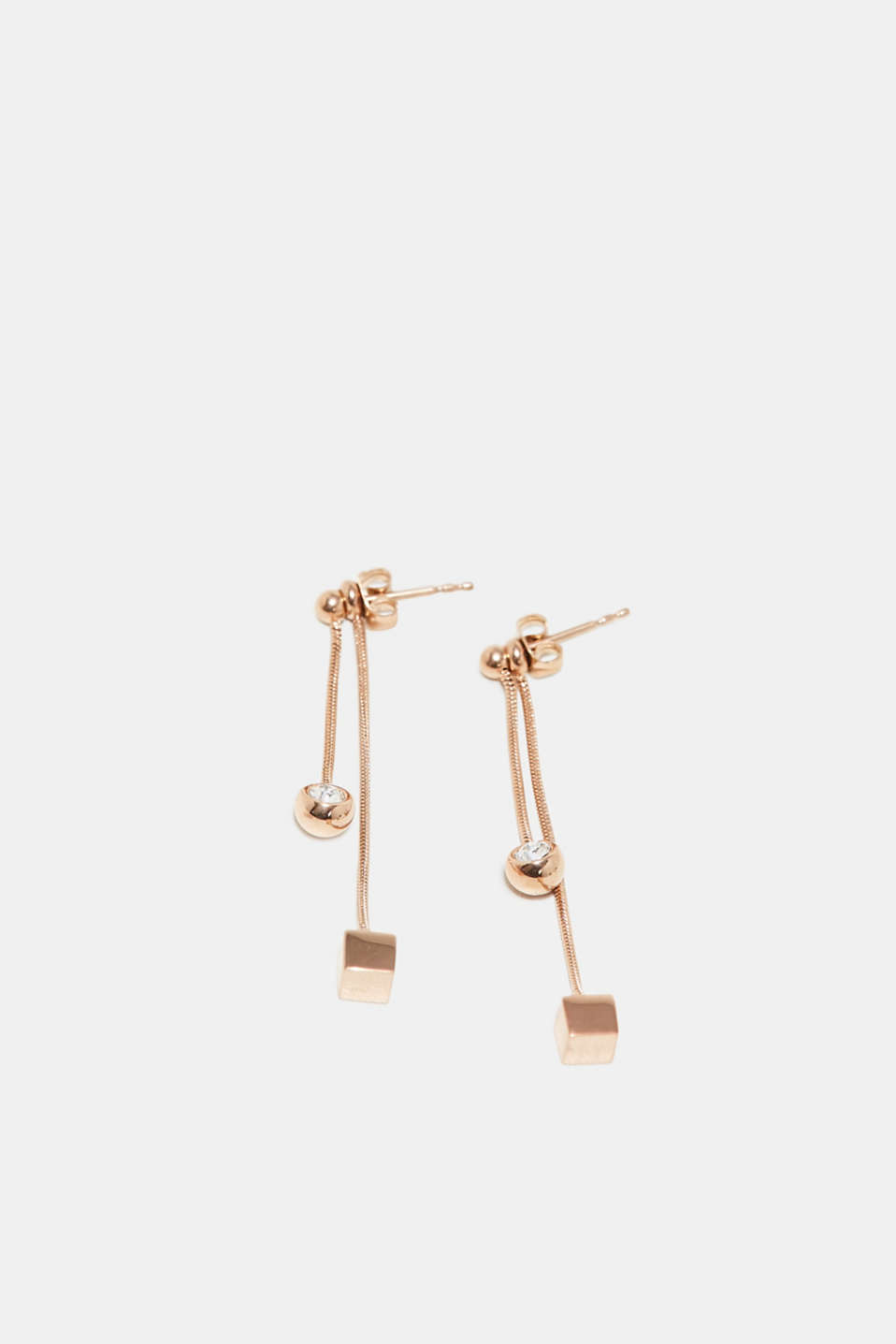 Two-in-one stainless steel stud earrings, one colour, detail image number 0