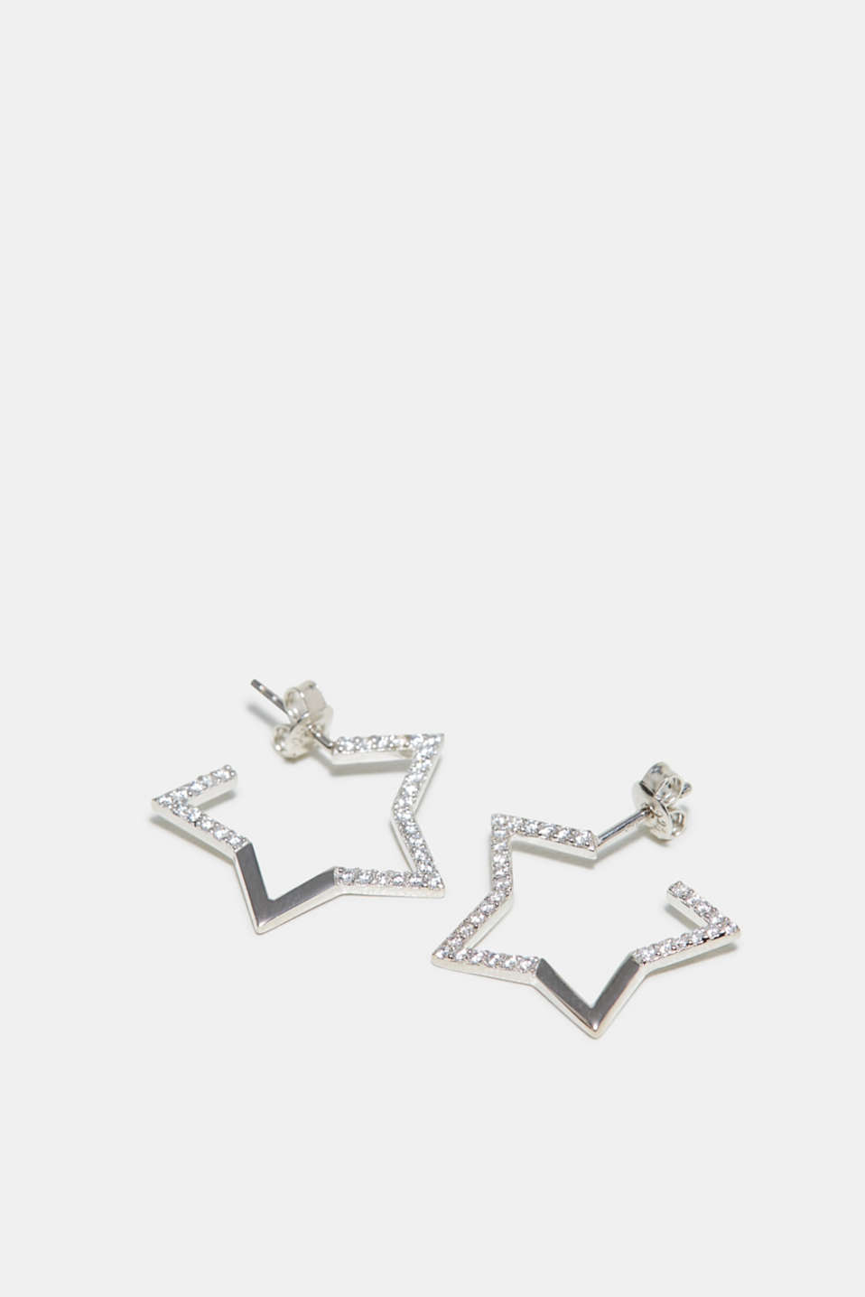Zirconia trim earrings made of sterling silver, SILVER, detail image number 0