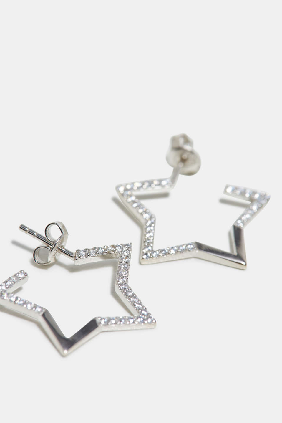 Zirconia trim earrings made of sterling silver, SILVER, detail image number 1