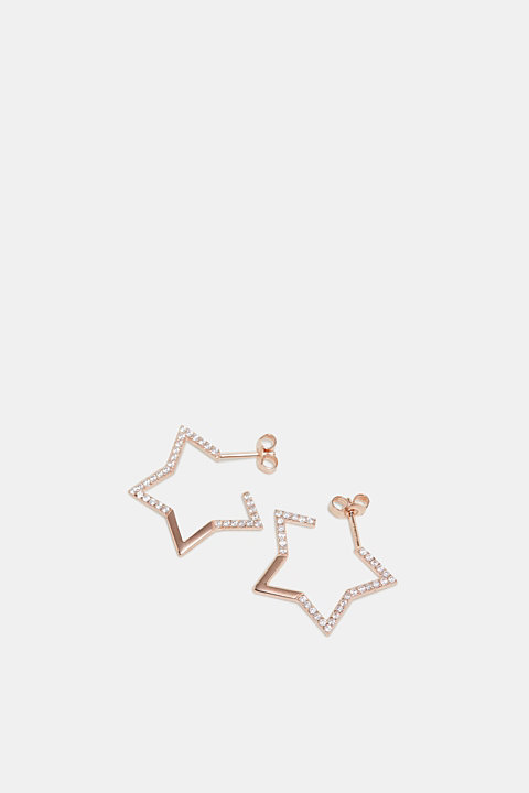 Stud earrings with zirconia, in sterling silver
