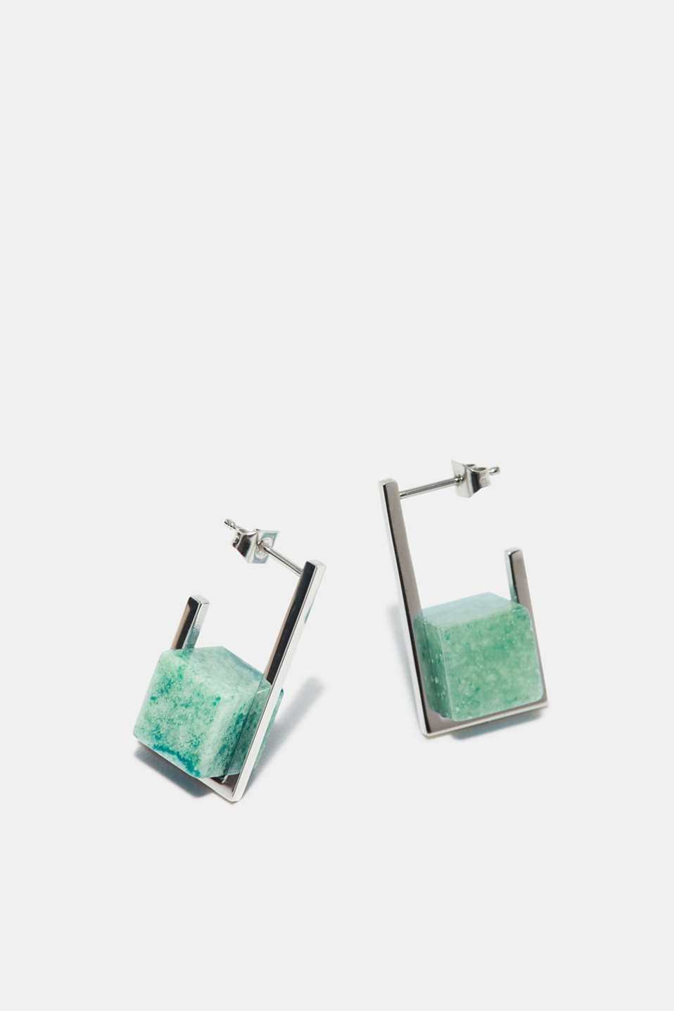 Stainless steel stud earrings with a jade-effect gemstone, one colour, detail image number 0