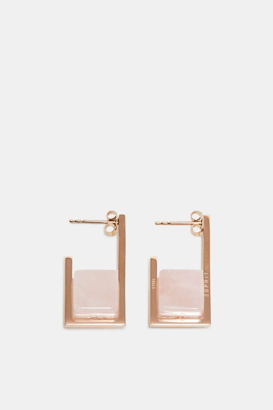 Esprit - Stainless steel stud earrings with stones in a rose quartz look