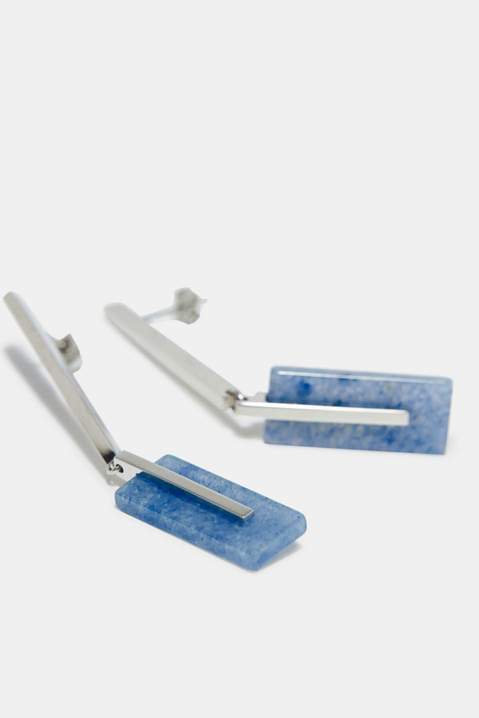 Esprit - Long stud earrings with an artificial delicate blue gemstone, stainless steel
