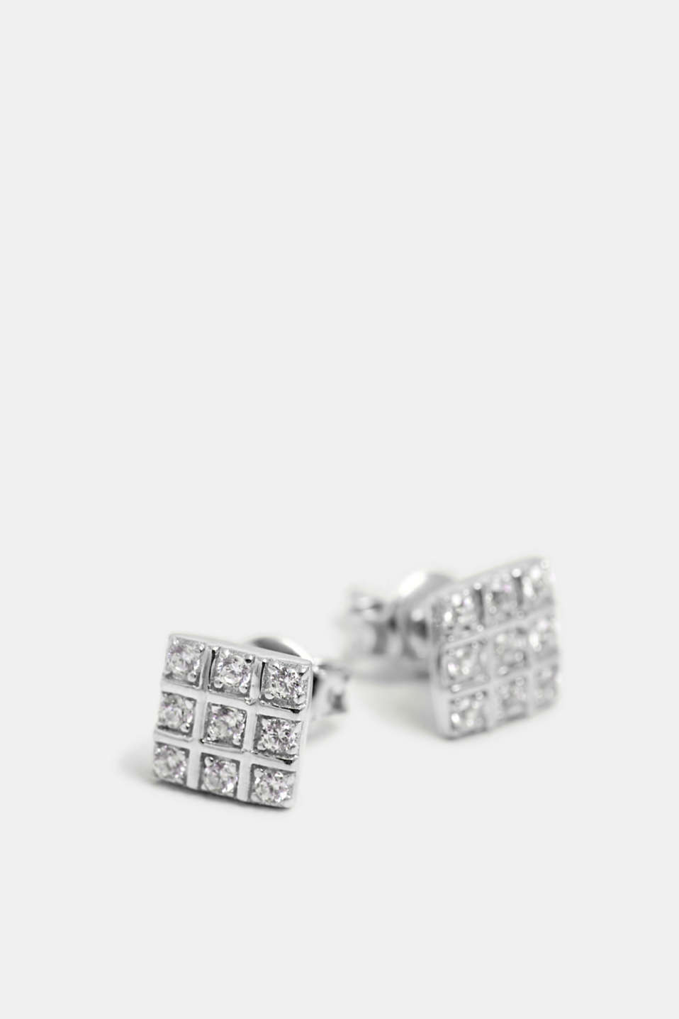 Stud earrings with zirconia, sterling silver, SILVER, detail image number 1