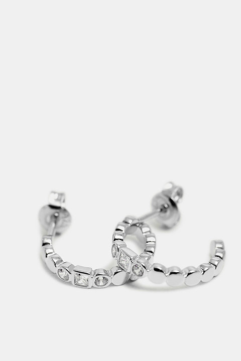 Hoop earrings with zirconia, sterling silver
