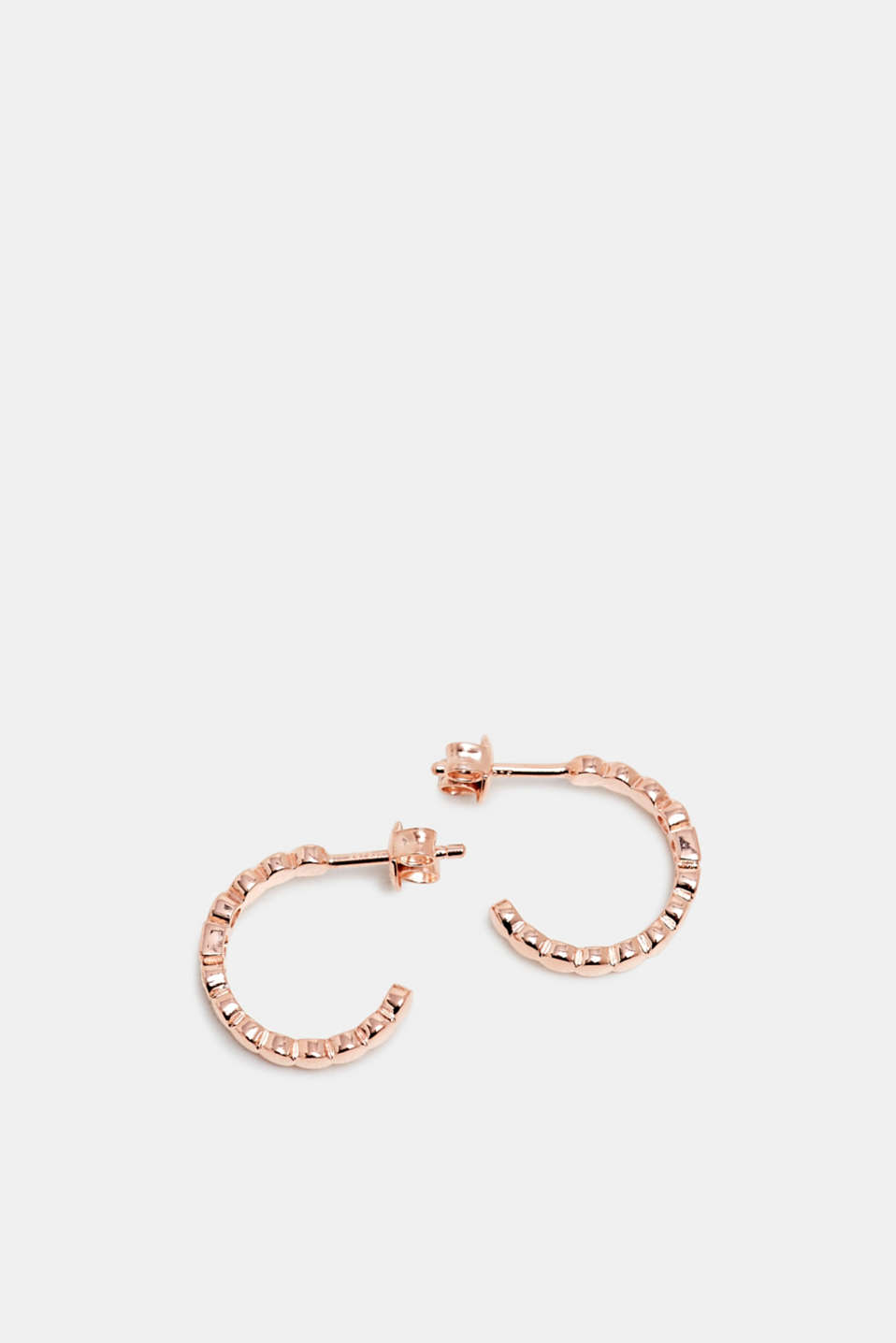 Hoop earrings with zirconia, sterling silver, ROSEGOLD, detail image number 1