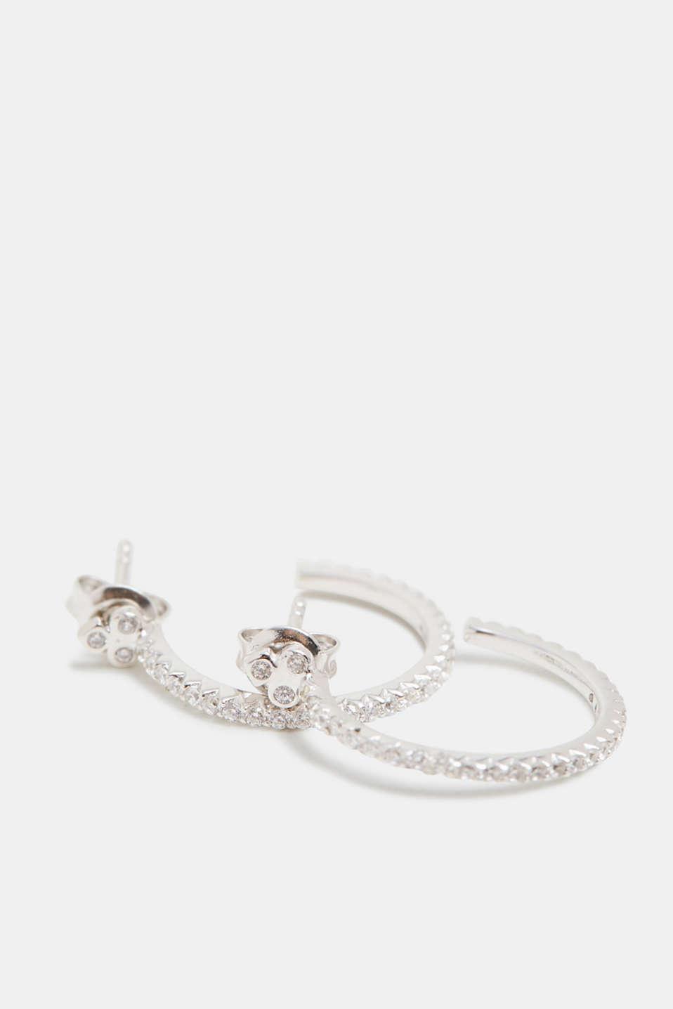 Hoop earrings with zirconia, sterling silver, SILVER, detail image number 1