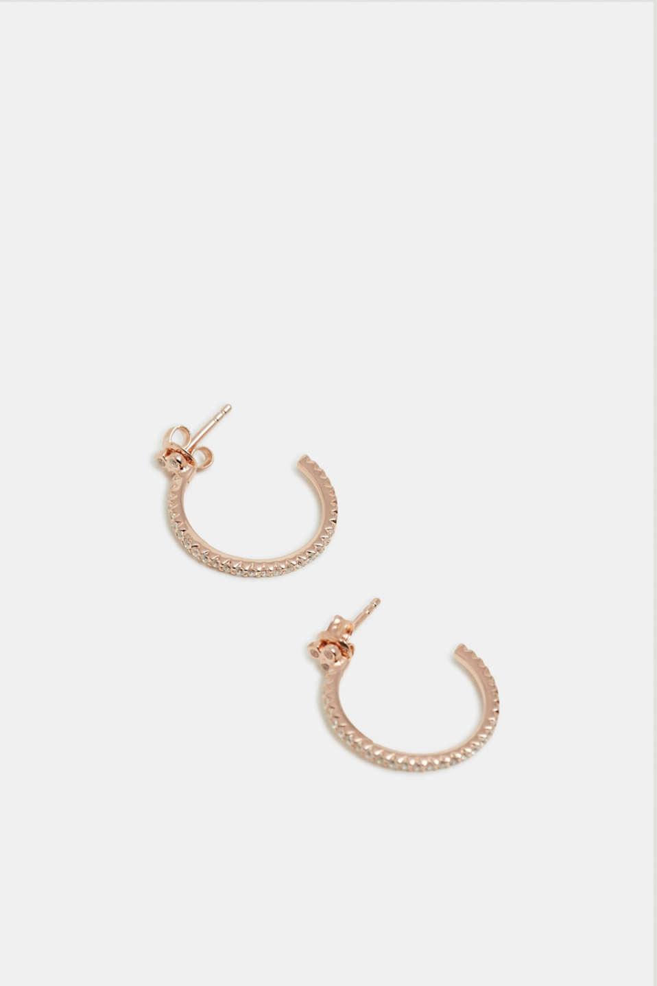 Hoop earrings with zirconia, sterling silver, ROSEGOLD, detail image number 0