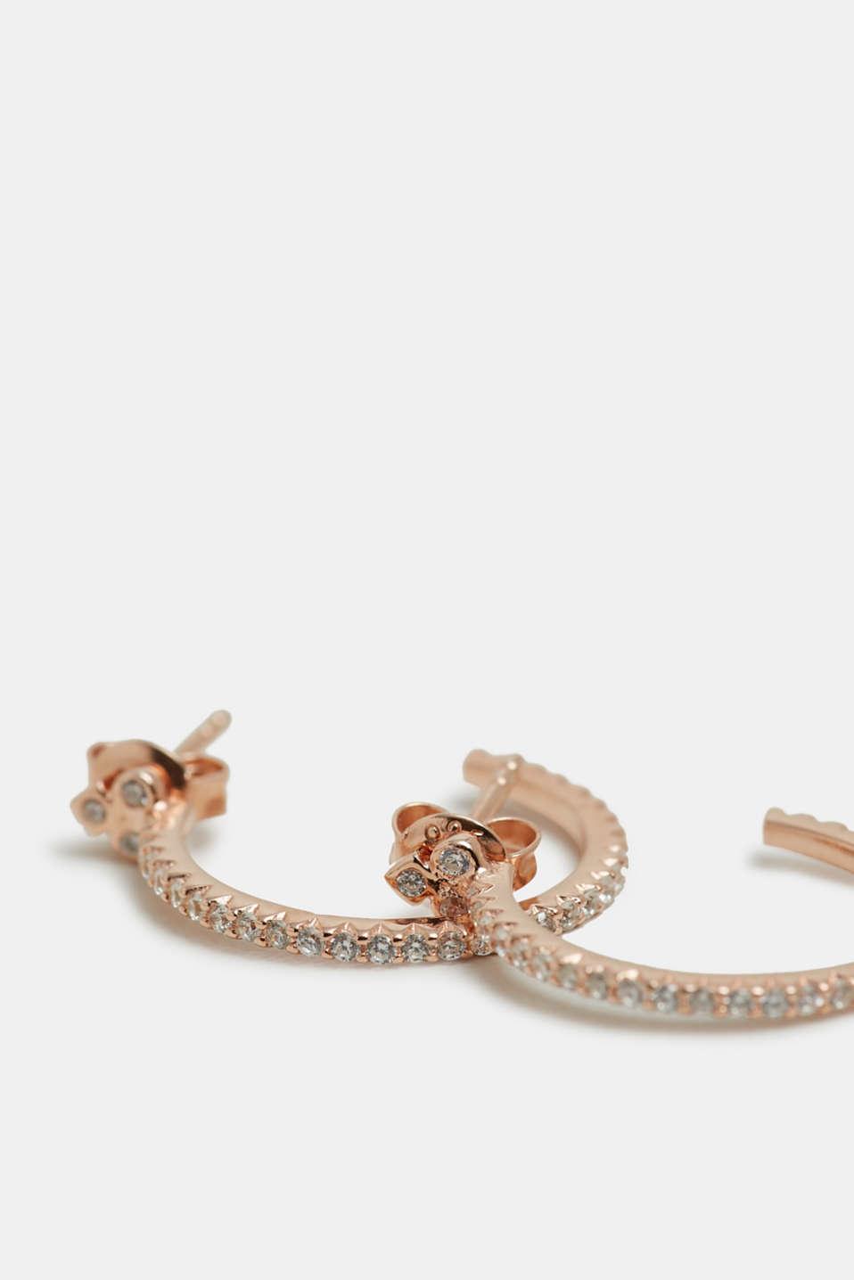 Hoop earrings with zirconia, sterling silver, ROSEGOLD, detail image number 1