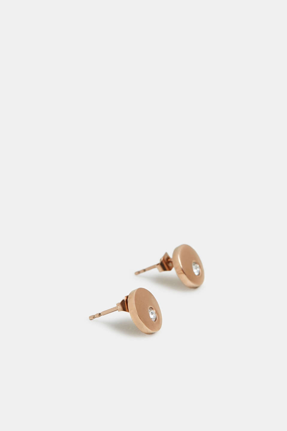 Stainless steel stud earrings with zirconia trim, ROSEGOLD, detail image number 1