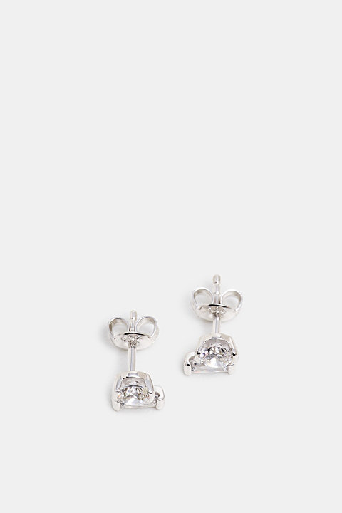 Stud earrings with zirconia, sterling silver