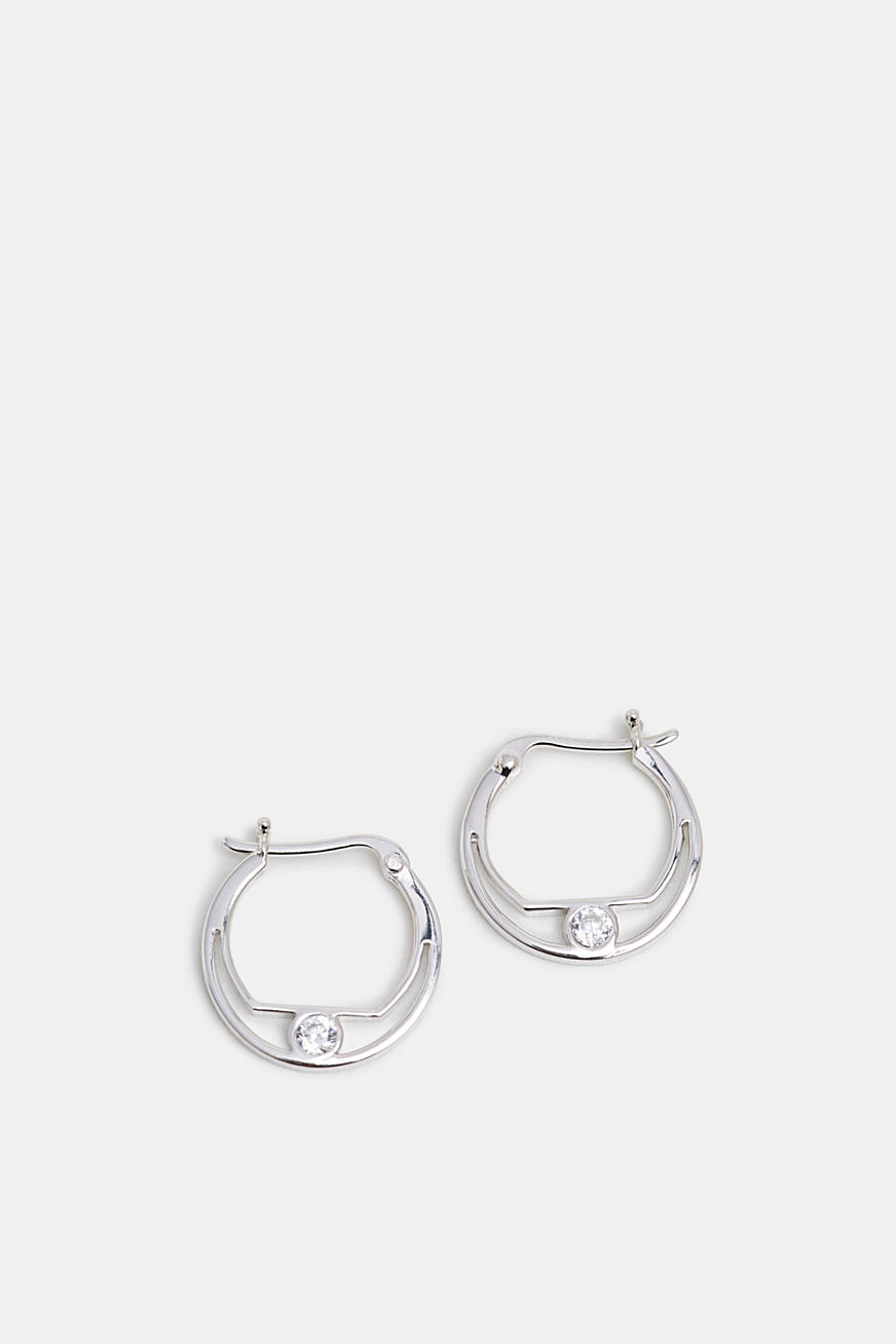 Zirconia-trimmed earring, sterling silver