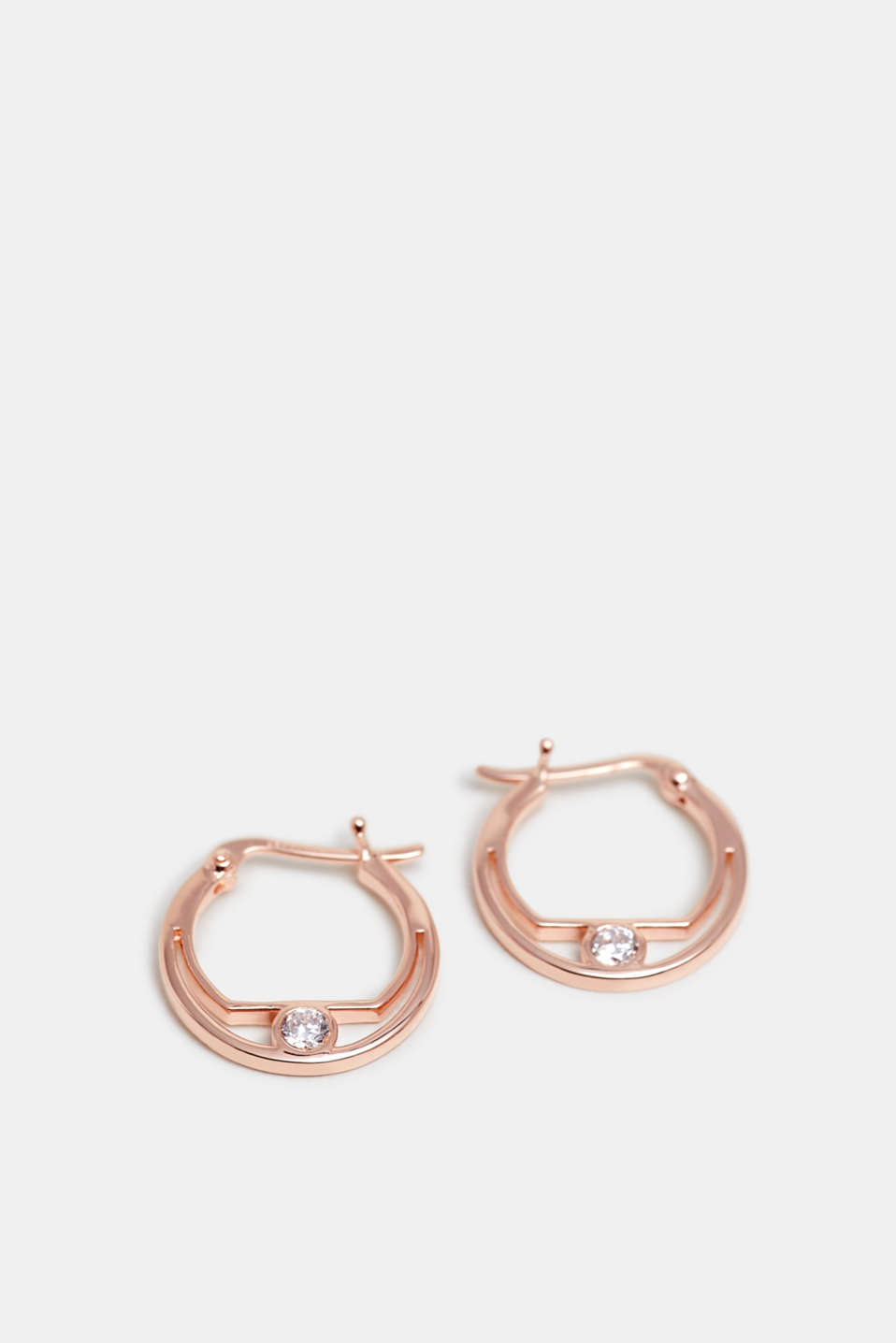Zirconia-trimmed earring, sterling silver, ROSEGOLD, detail image number 0