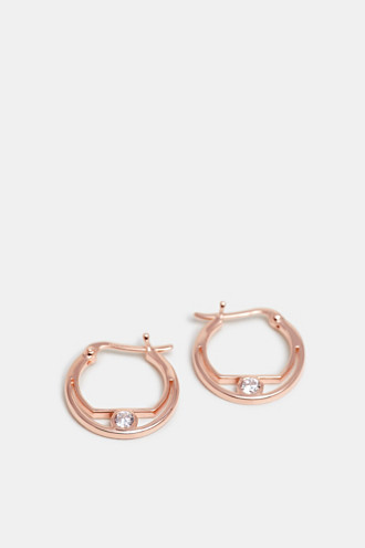 Zirconia-trimmed earring, sterling silver
