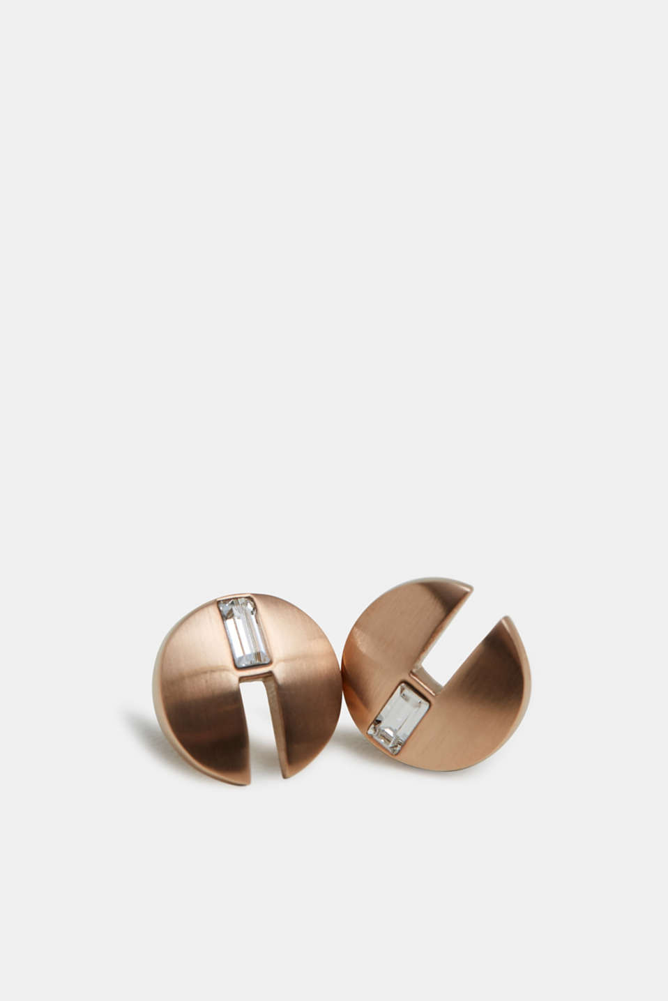 Stainless steel stud earrings with baguette stones, ROSEGOLD, detail image number 1