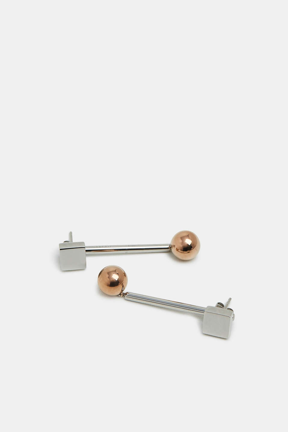 Two-in-one stainless steel stud earrings, SILVER, detail image number 1