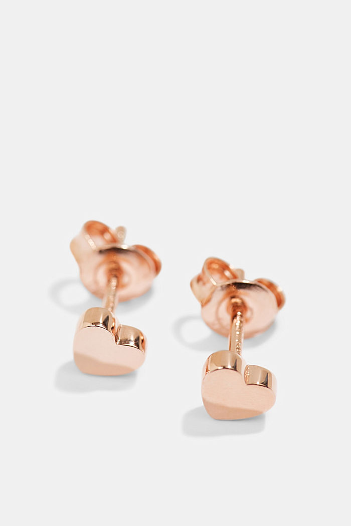 Heart-shaped stud earrings in sterling silver, ROSEGOLD, detail image number 0