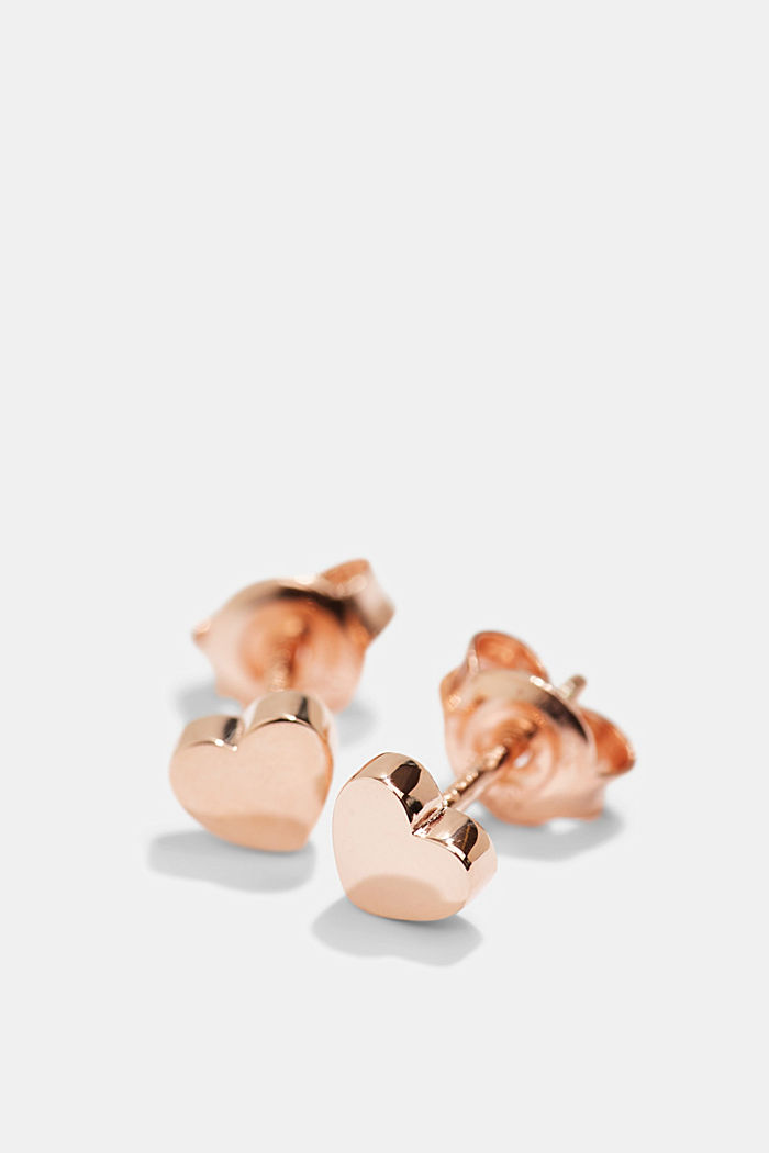 Heart-shaped stud earrings in sterling silver, ROSEGOLD, detail image number 1