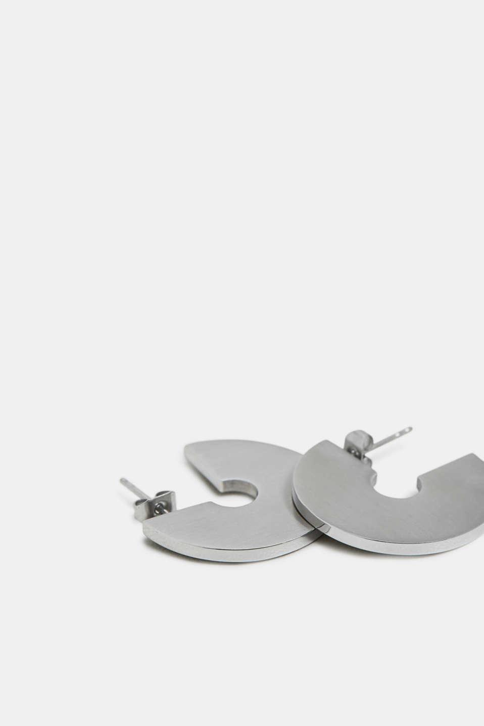 Stainless steel earrings, SILVER, detail image number 1
