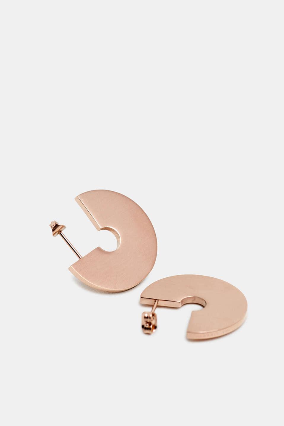 Stainless steel earrings, ROSEGOLD, detail image number 1