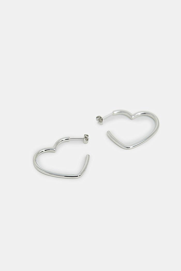 Herzförmige Ohrringe aus Edelstahl, SILVER, detail image number 0