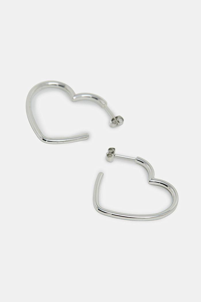 Herzförmige Ohrringe aus Edelstahl, SILVER, detail image number 1