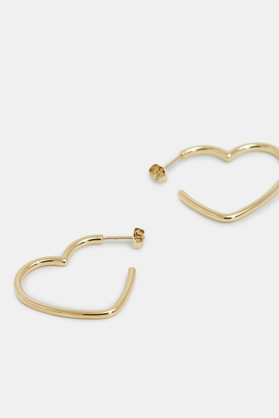 Heart-shaped earrings in stainless steel, GOLD, detail image number 1