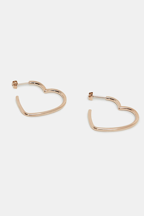 Heart-shaped earrings in stainless steel