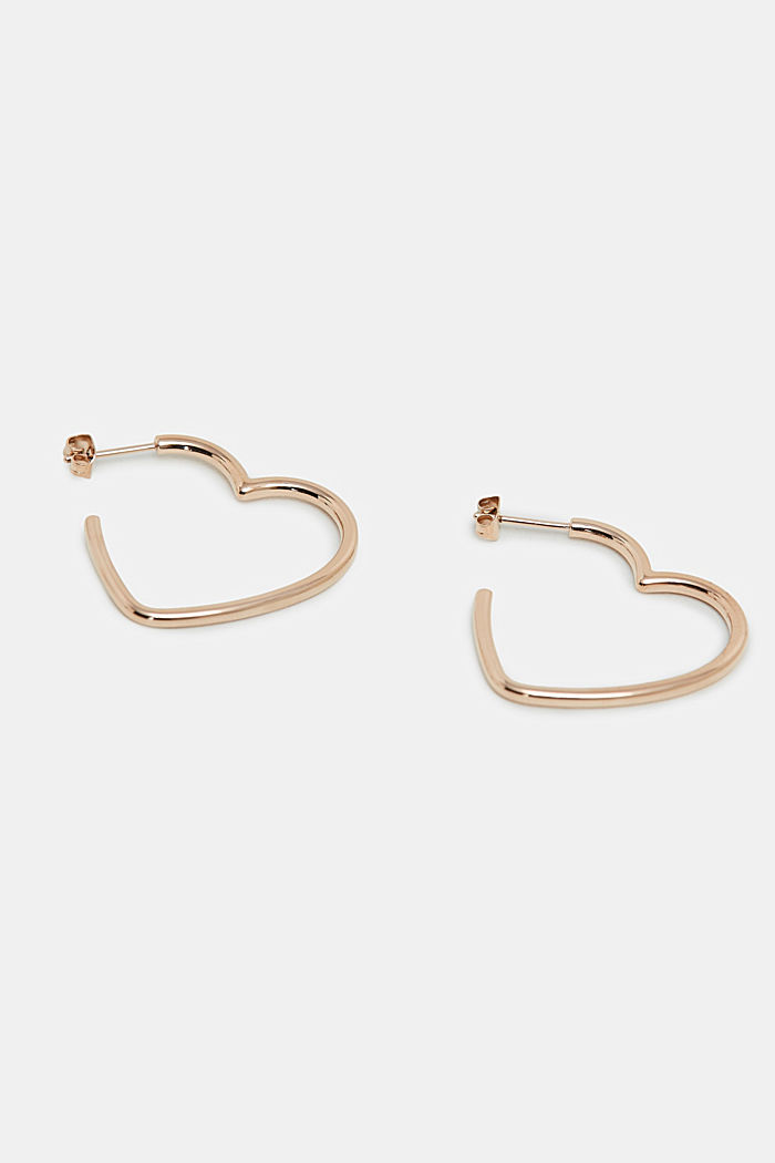 Heart-shaped earrings in stainless steel, ROSEGOLD, detail image number 0