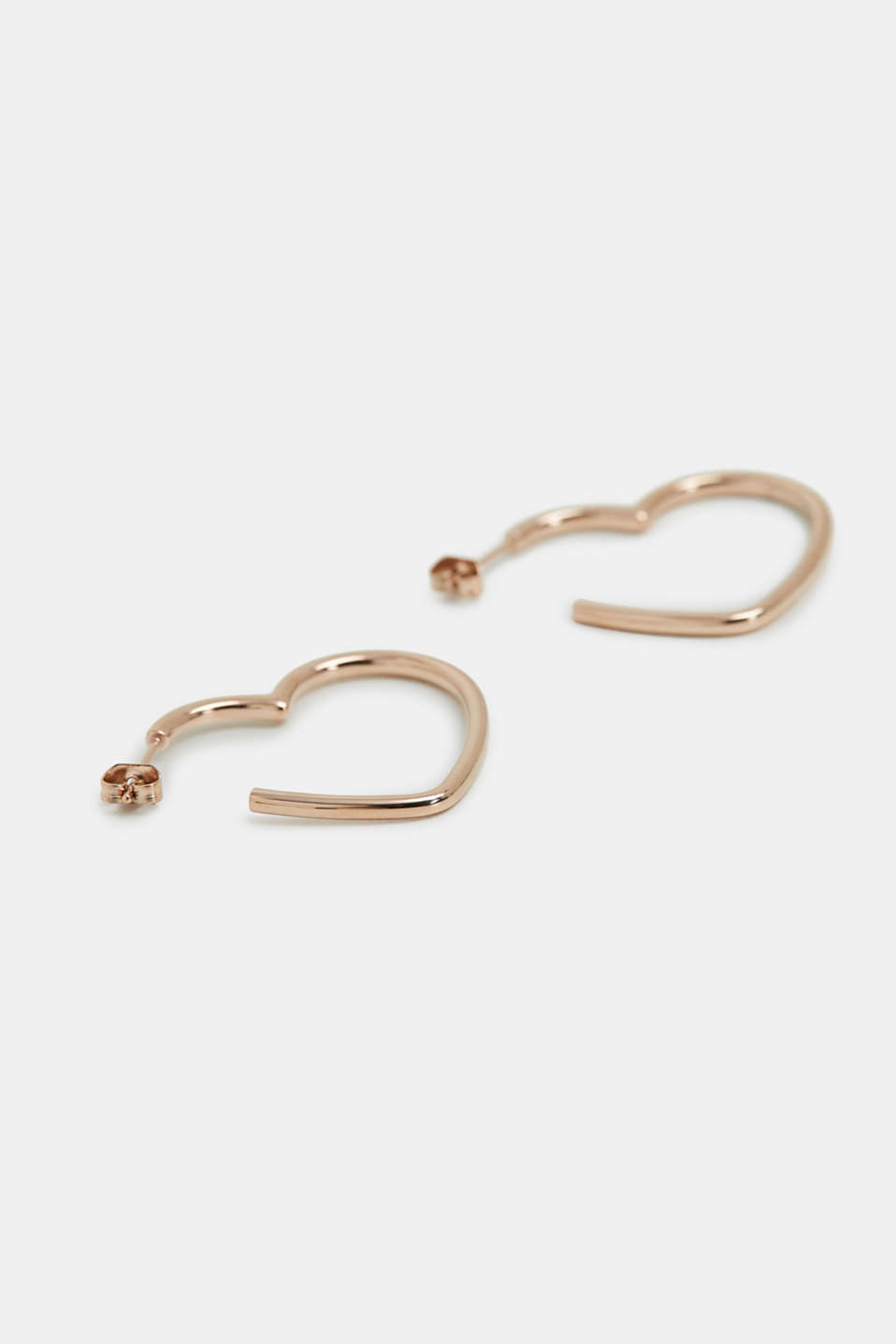 Heart-shaped earrings in stainless steel, ROSEGOLD, detail image number 1