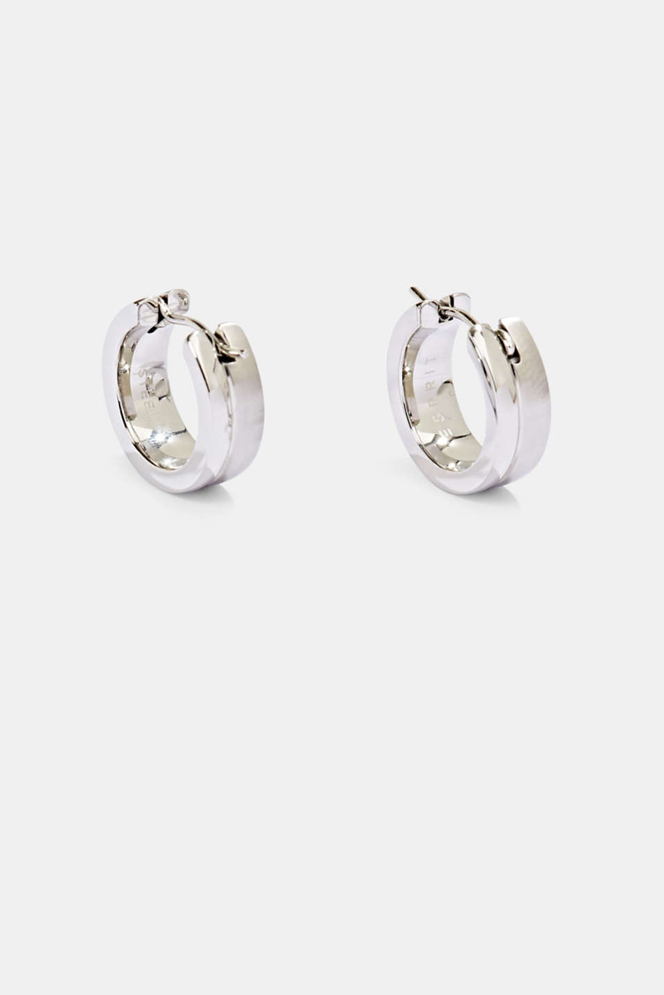 Stainless-steel hoop earrings, SILVER, detail image number 0