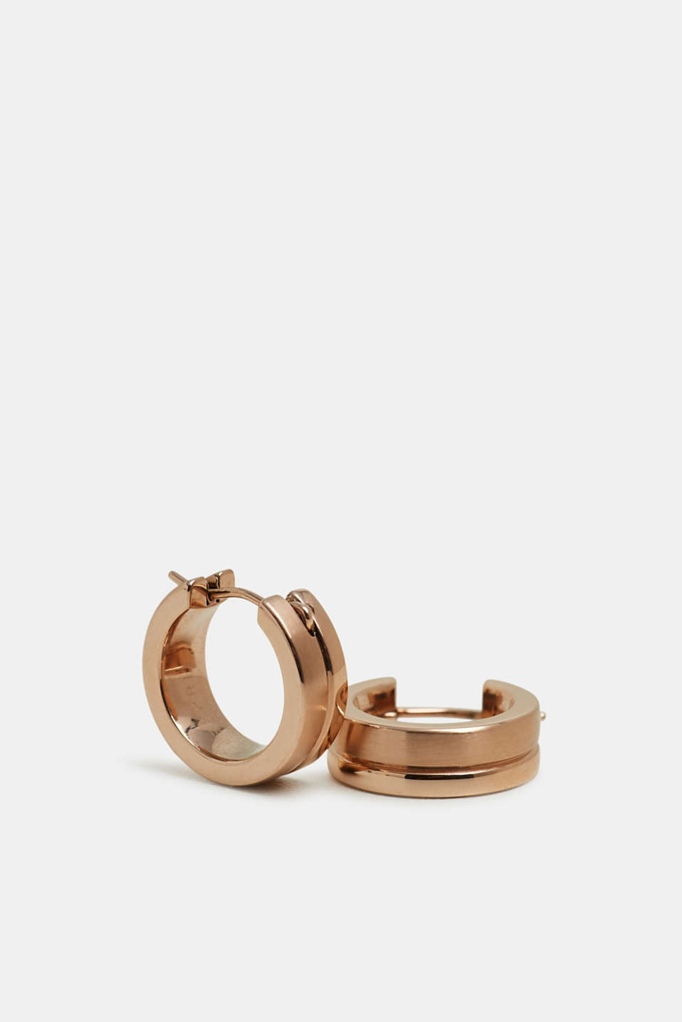 Stainless-steel hoop earrings, ROSEGOLD, detail image number 0