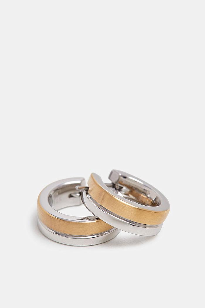 Tweekleurige oorbellen van edelstaal, GOLD, detail image number 0